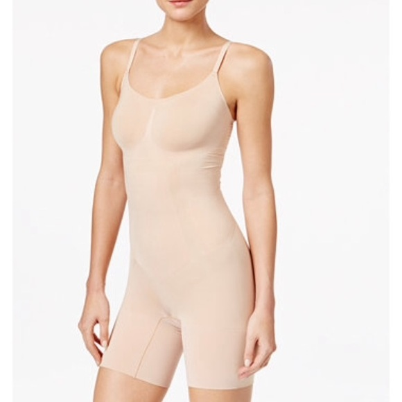 a05bb74c5312f NWT Spanx Oncore Mid Thigh Bodysuit in Soft Nude